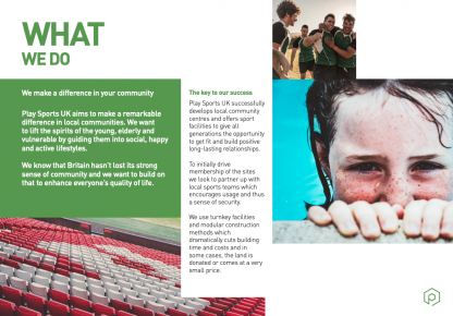 Brochure writing for a sports charity